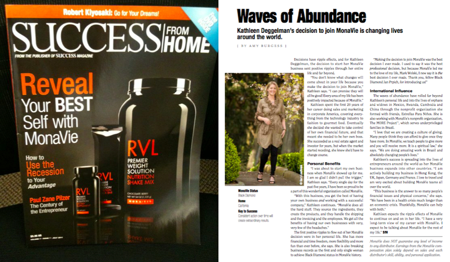 Success from Home Magazine featuring Kathleen Deggelman MonaVie Black Diamond Executive